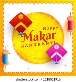 Creative greeting card or template design decorated with kites and string spools for Happy Makar Sankranti festival celebration.