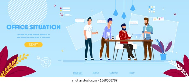Creative Group of Male Colleagues at Working Process in Office. Business People Characters Team Communicating at Workplace, Office Life, Teamwork. Cartoon Flat Vector Illustration. Horizontal Banner.