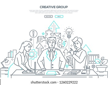 Creative group - modern line design style web banner on white background. High quality composition with a business team, colleagues brainstorming in the office, images of lightbulb, brain, puzzle