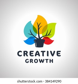 Creative Growth Original Memorable Graphic Symbol For Your Business. Growing Plant With Colorful Leaves. Attractive Unique Sign For Studio Team Service Agency etc. Vector Illustration.