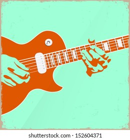 Creative guitar player. Vector illustration