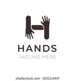 Creative H letter logo design. Hands connection symbol. Community, cooperation, family and friendship concept. Trendy emblem for business branding, vector illustration.