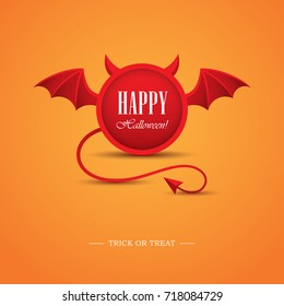 Creative Halloween greeting card or banner design with round frame looking like a devil. Demon horns, wings and tail illustration. Hell, evil symbol, logo.