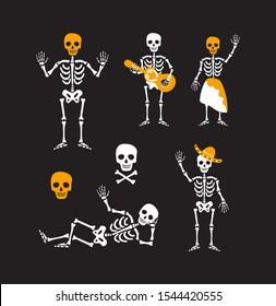 Creative Halloween greeting icons. Traditional skeleton symbols. Cartoon illustrations. Vector holiday design.