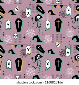 Creative halloween pattern with trendy ghost and spider web memphis geometric abstract style vector illustration on pastel pink color background.