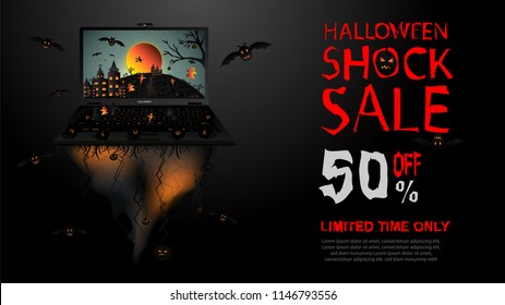 Creative Halloween Shock Sale Banner Template Stock Vector (Royalty