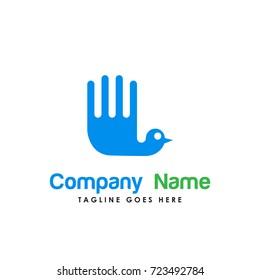 creative hand bird logo vector