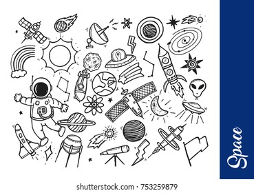 Creative Hand Drawing Space Theme Doodle Illustration, Suitable For Invitatio Card, Pattern, Children Book And Any Space Doodle Related Design
