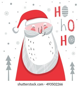 Creative hand drawn card with cute Santa Claus. Vector cartoon illustration. and drawn typography poster. Xmas design.