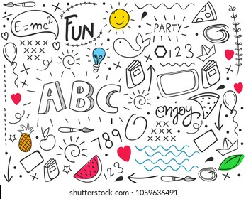 Creative Hand Drawn Doodle Set of Objects, Black and White Outline Background.