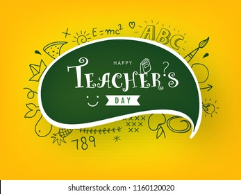 "Creative Hand Drawn Doodle Set of Objects wth Stylish Text ""Happy Teacher's Day""."