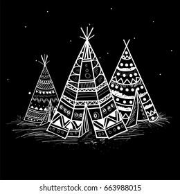 Creative hand drawn Teepee or Wigwam with tribal pattern in Boho style.