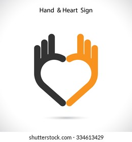 Creative hand and heart shape abstract logo design.Hand Ok symbol icon.Corporate business creative logotype symbol.Vector illustration