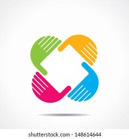 creative hand icon, arrange hand and make square shape vector