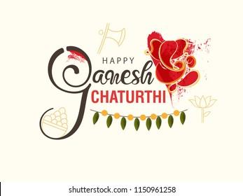 "Creative Hand Lettering Text ""Ganesh Chaturthi"" with God Ganesha Illustration for Happy Ganesh Chaturthi."