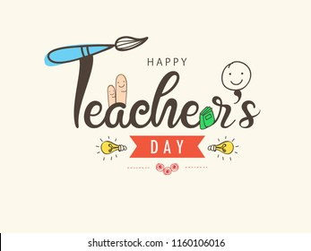 Creative Hand Lettering Text for Happy Teacher's Day Celebration on decorative Doodle Background.