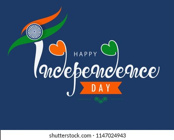 "Creative Hand Lettering Text ""Happy Independence Day"" with Tri Color National Flag on Navy Blue Decorative Background."