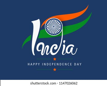 "Creative Hand Lettering Text ""India"" with Tri Color National Flag on Navy Blue Background."