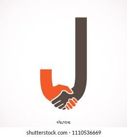 Creative handshake J- letter icon abstract logo vector design.Business offer,partnership icon.Corporate business and industrial logotype symbol.Vector illustration