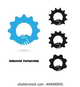 Creative handshake logo and gear symbol.Teamwork and industrial concept.Vector illustration