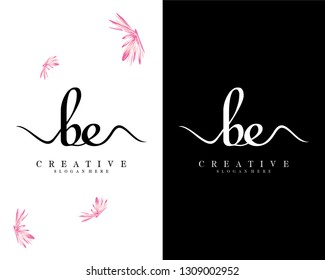 creative handwriting logo letter be/eb vector