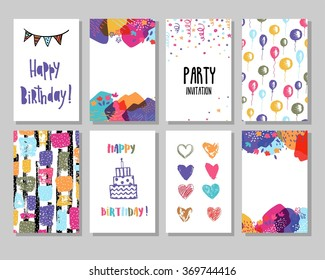 Creative Happy birthday cards collection. Hand drawn party invitation.