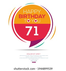 Creative Happy Birthday to you text (71 years) Colorful decorative banner design ,Vector illustration.