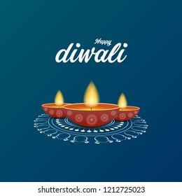 Creative happy diwali festival illustration for greeting card, poster, wallpaper and background design.