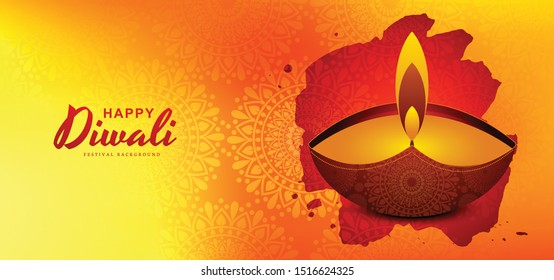 Creative happy diwali greeting card diya background