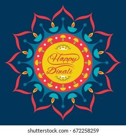 creative happy diwali greeting design, decorate with colorful diya