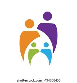 Creative happy Family Logo with Health Care