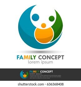 Creative happy family logo icon. People connect business vector template. Children dad and mom layout for design name card, identity corporate.