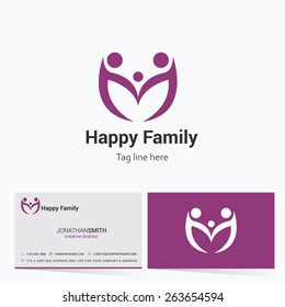 Creative happy Family Logo with visiting card | community business card template - vector illustration