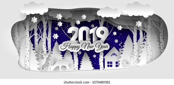 creative happy merry christmas and new year 20182019 design winter forest happy