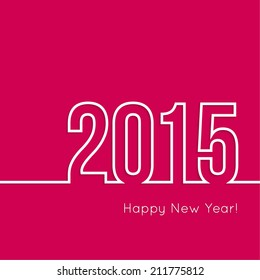 creative happy new year 2015 design.  Flat design.