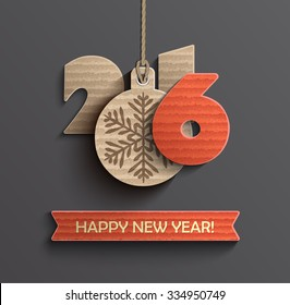 Creative happy new year 2016 design. Vector illustration.
