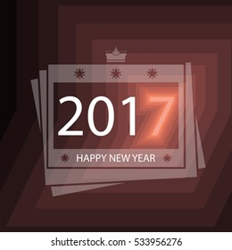 Creative Happy New Year 2017 design for greeting cards, flyers, brochures and calendars, EPS10 Vector Illustration.