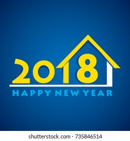 creative happy new year 2018 poster design, real estate concept