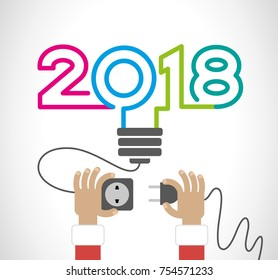 Creative happy new year 2018 design. New Year background.  Hands of a man with an electric plug and socket, an abstract light bulb with digits. The file is saved in the version 10 EPS.