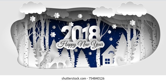 Creative happy new year 2018 design. Winter forest. Happy new year 2018 paper art and craft style.