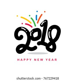 Creative happy new year 2018 design card, Poster, Banner. Vector illustration. Illustration Logo 2018 Vectorized