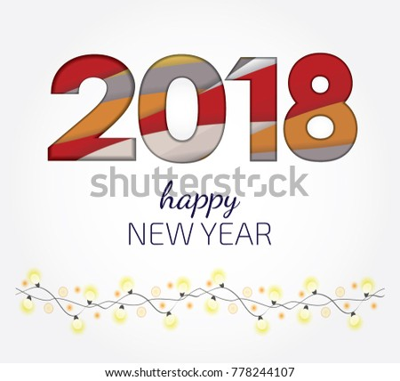 creative happy new year 2018 design card in paper style vector illustration paper art