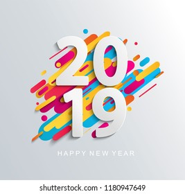 Creative happy new year 2019 banner on modern background for your seasonal flyers, greetings card and christmas themed invitations. Vector illustration. Vector illustration.