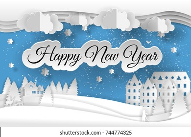 Creative happy new year 2019 design. Happy new year and Merry christmas, paper art and craft style.