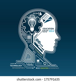 Creative head abstract circuit technology infographic.vector