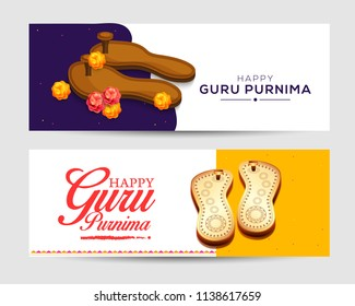 Creative header or banner for the Day of honoring celebration guru purnima.