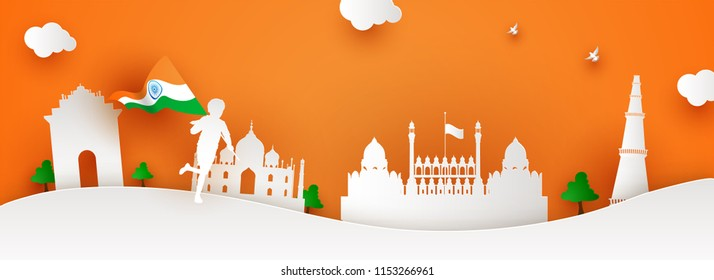 Creative header or banner design. White paper cutout style, boy holding National Flag of India, famous Indian monuments on saffron color background. National Event celebration concept.