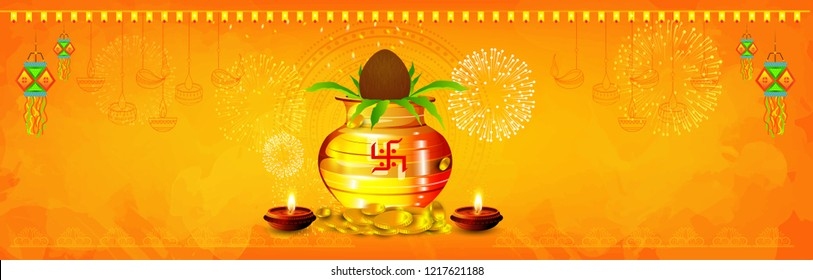 creative header, banner or poster for Shubh Dhanteras,  with golden shiny pot filled with gold coins of diwali festival celebration background. Shubh dhanteras.