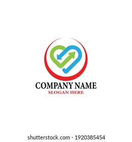 Creative heart care logo  Medical Clinic  Human love  Nutrition logo design template.