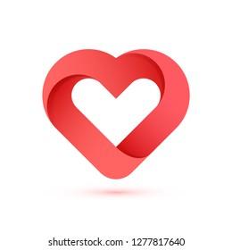 Creative heart shape illustration on white background for valentine's day.